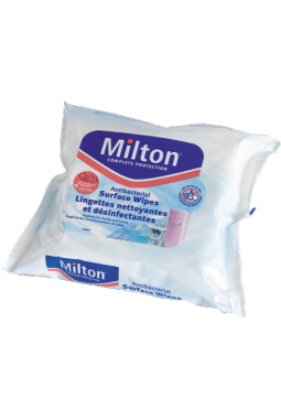 Cleaning and disinfectant wipes for surfaces MILTON