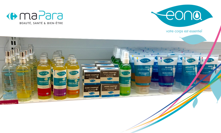 Image EONA : la marque du kiné disponible dans les parapharmacies CARREFOUR